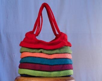 Hand Knit and Felted Ruffled Handbag by Libby Johnson