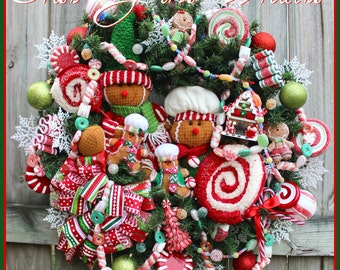 Gingerbread Wreath, Christmas Wreath, Peppermint Wreath, Sugared gumball candy LED lights, Candy Wreath, gingerbread boy girl man chef