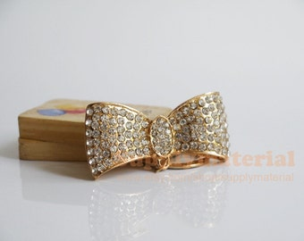 1PCS fashion golden Crystal Bow Flatback Alloy accessories Jewelry material supplies