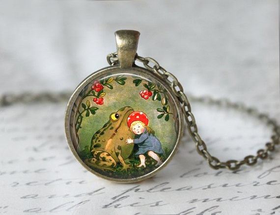 Frog Necklace - Frog Jewelry - Fairy Tales Necklace - Fairy Tales Jewelry - Book Necklace - Book Jewelry - Once upon a time (T491)