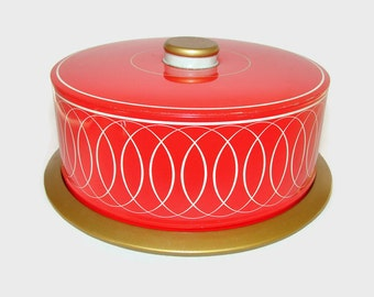 Red Gold and White Metal Cake Carrier, Vintage Metal Cake Server, Pie Plate, Party Platter, Cup Cake Saver, Dessert Server, Pastry Storage