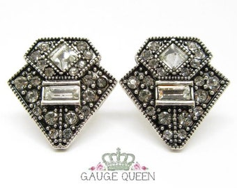 "Geometric Crystal Plugs / Gauges. 2g / 6.5mm, 0g / 8mm, 00g / 10mm, 1/2"" / 12.5mm, 9/16"" / 14mm, 5/8"" / 16mm Gauge Queen on Etsy"