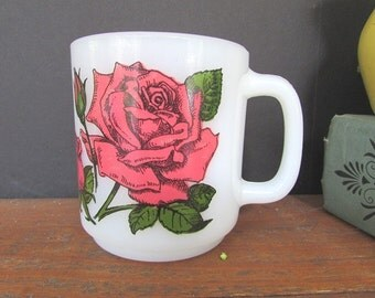 Glasbake Rose Mug Vintage Milk Glass Coffee Cup