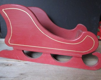 Large Red Sleigh Vintage Handmade Christmas Decoration