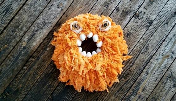 Halloween Wreath, Monster Wreath, Hand Dyed Orange Gauze Wreath, Ready to Ship,