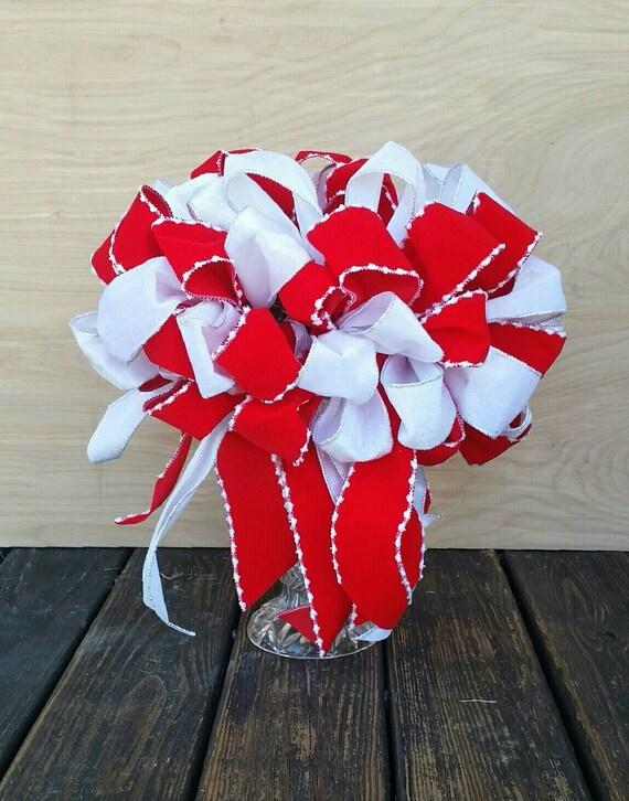 Christmas Tree Topper, Red and White Velvet Tree Topper