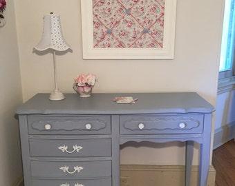 Forever Pink - Shabby French Provincial Slate Gray Desk