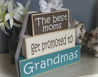 """Great Grandparents Wood Block Stack: """"The Best Grandparents Get Promoted to Great-Grandparents"""" - Pregnancy announcement"""