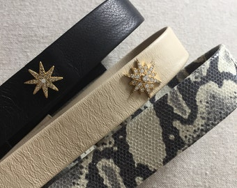Leather choker with pave star. Shay kendal, kardashian lovers - real leather handmade choker necklace - hottest item!