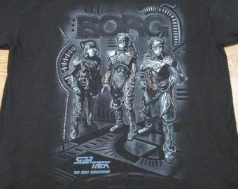 XL*** vintage 90s STAR TREK: The Next Generation Borg T-Shirt alien robot sci fi tv show series science fiction soft