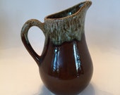 "Hull Brown Drip Pitcher / Vintage Hull G4 Glazed Pottery Medium 6.5"" Pitcher Estate Sale find good condition"