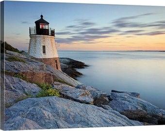 Nautical Decor, Canvas Wall Art Castle Hill Lighthouse Photography Newport Rhode Island Photo Beach Decor Large Art Blue Orange Grey Green