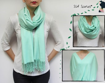 Mint Green Bridesmaid, Summer Wedding Scarf, Spring Wedding Shawl, Large Wedding Wrap, Mint Green Shawl, Mint Green Infinity Scarf Shawls