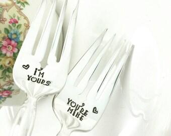 I'm Yours You're Mine Stamped Vintage Wedding Cake Forks Engagement Gift Bridal Shower Gift Wedding Day Forks