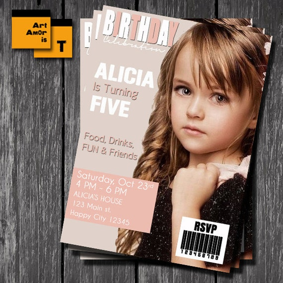 Magazine Cover Invitation Magazine Front Page Cover Page – Magazine Cover Birthday Invitations