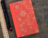 """Hand Bound Book, Hardcover Journal """"Red and Gold"""" Handmade Blank Notebook"""