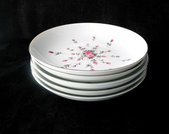 5 Harmony House Rosebud Coupe Soup Bowls with Pink and Gray Roses Vintage 1950s Set of 5
