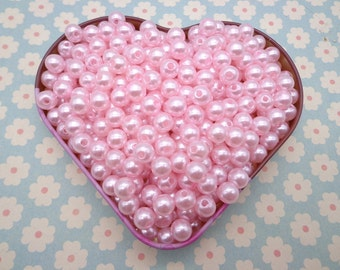 SALE--100pc 8mm pink  Pearl beads,faux pearl beads,plastic beads