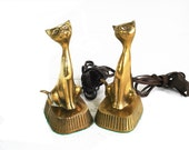 Vintage Brass Cats Markay Electric Brass Cat Figurines Lamp Dimmers