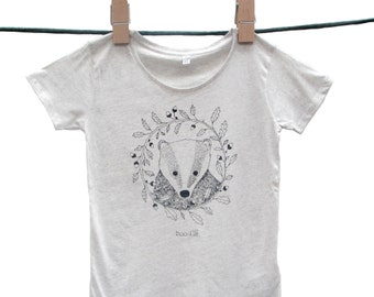 Organic Womens T-shirt 'Bertie the Badger', hand screen printed with eco-friendly inks. Featuring a beautiful illustration of a badger.