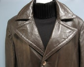 Vintage 1970's Brown Leather Trench Coat Removable Liner