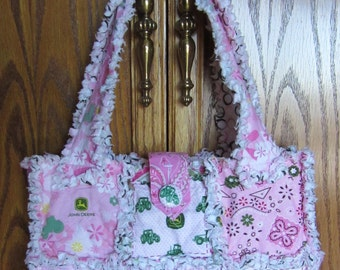 JOHN DEERE Fabric Rag Quilt Purse Diaper Bag Tote using Different Pink JD Fabrics
