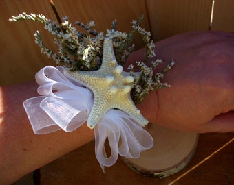 Beach wedding corsage | starfish corsage | knobby starfish corsage | wrist corsage | beach wedding
