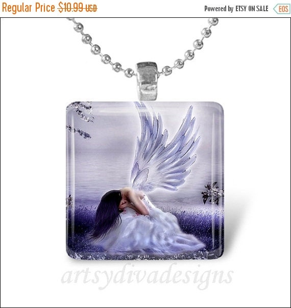 10% OFF OCTOBER SALE : Crying Angel Heaven Fairy Fantasy Glass Tile Pendant Necklace Keyring