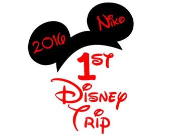Custom 1st Disney Trip  Iron on Transfer Decal(iron on transfer, not digital download) first Disney Iron on Matching Disney Family Shirts