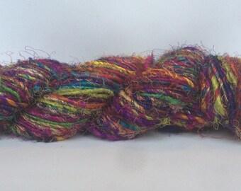 Recycled Silk Sari Yarn - Art Yarn - Hand Spun, Eco-Friendly & Socially Responsible - 1 Skein ~65 yards