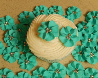 """40 1"""" Light Teal Royal Icing Drop Flowers Edible for cupcakes,cakes,cakepops, cookies"""