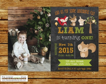 Woodland Invitation | Woodland Creatures Invitation with photo | Woodland Creatures Birthday Party | Forest Friends Invitation | Chalkboard