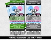 GENDER REVEAL TICKET Invitation Football Baby Shower Party (print your own) Personalized Printable Files - Admit One