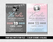 GENDER REVEAL INVITATION Baby Shower Party (print your own) Personalized Printable Files - Grey Pink Blue Ultrasound