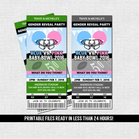 gender reveal ticket invitation football baby shower party