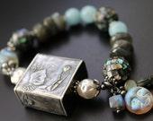 Anne Choi fiddler crab with moon shell bead abalone bracelet gemstone and diamond bracelet beach boho stretch Bali sterling OOAK bracelet