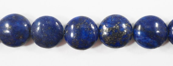 "Lapis Gemstone Beads 12mm Coin Shaped Lapis Luzuli Beads, Blue Stone Beads, Lapis with Pyrite Inclusions on a 7"" Strand with 15 Beads"