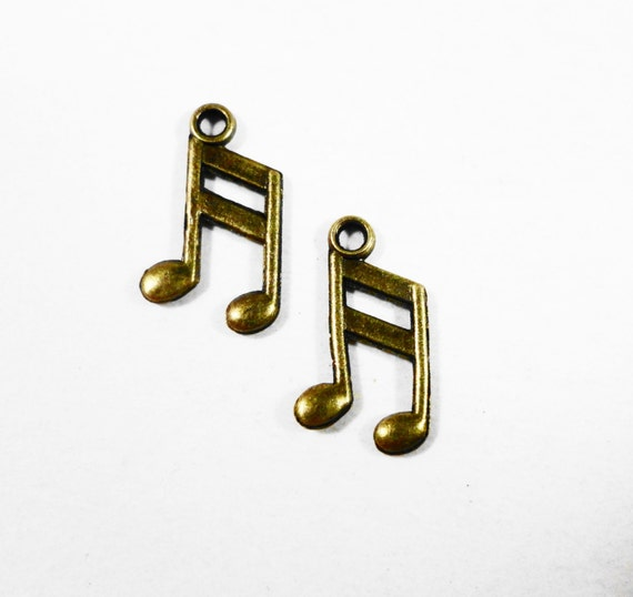 50 Bronze Music Note Charms, 13x8mm Antique Brass Music Note Charms, Small Music Note Pendants, Bulk Charms, Wholesale Metal Charms