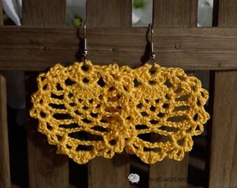 Boho crochet earrings in Sunshine Yellow
