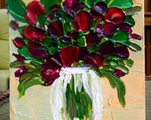 Original   Red Flowers in a Vase Heavy Impasto Palette Knife Acrylic Still Life Painting.