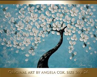 Original Modern White Flowers Tree Blue  Fine Art   Impasto Palette Knife Painting .