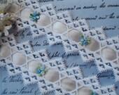 1/2y Vintage Venise Schiffli Blue Flower Applique Lace Satin Trim Wedding Couture Bridal Dress French Edwardian Flapper Sewing Trim