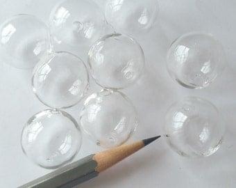 20 Hollow Hand Blown Glass Beads 20mm