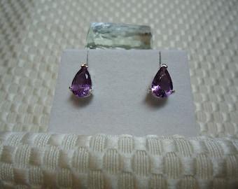 Pear Cut Amethyst Earrings in Sterling Silver  1834
