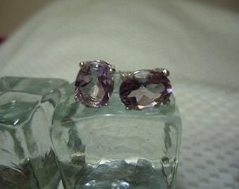 Oval Cut Amethyst Earrings in Sterling Silver