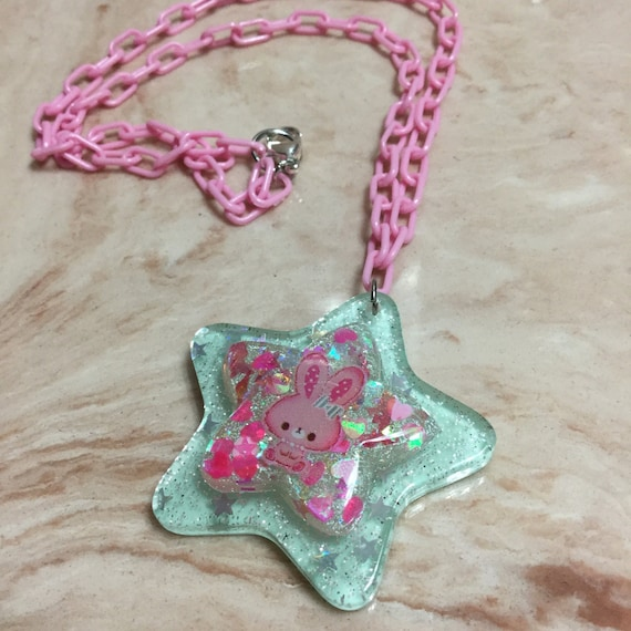 Pink and Green bunny necklace