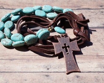 Turquoise and Deerskin Suede Long Necklace, Hand-knotted, Copper Cross Necklace, Rustic Western