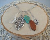Silver Charm Necklace- Leaves, Crystal, Wood- One of a Kind!