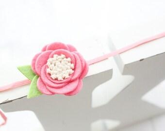 Felt flower headband- Coral pinkflower- headband-Baby girl headband- Gift- Girl headband -Hair accessory -Toddler headband- Babyshower