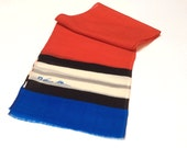 Vintage Anne Klein Wool Scarf, Designer Wool Scarf, Light Wool Scarf,  Red Blue and Cream, Excellent Condition